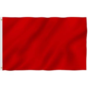 Plain Red Flags Polyester with Brass Grommets 2 X 3 Ft