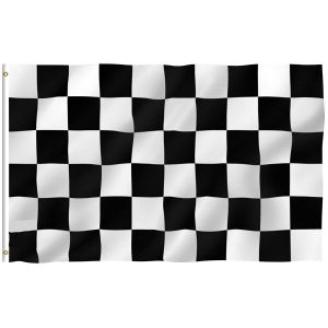Checkered Flag -  Black and White Racing Flags Polyester with Brass Grommets 2 X 3 Ft