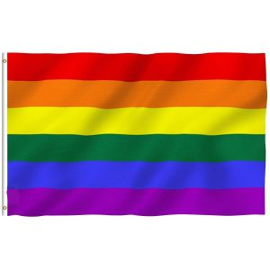 Rainbow Flag 6 Stripes - Gay Pride Banner Flags Polyester with Brass Grommets 3 X 5 Ft