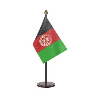Afghanistan Table Flag With Black Acrylic Base And Gold Top