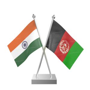 Afghanistan Table Flag With Stainless Steel Square Base And Pole