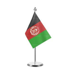 Afghanistan  Table Flag With Stainless Steel Base and Pole