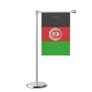 L Shape Table Afghanistan Table Flag With Stainless Steel Base And Pole