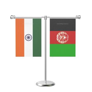 Afghanistan T shaped Table flag with Stainless Steel Base and Pole