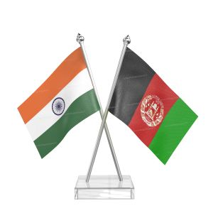 Afghanistan Table Flag With Stainless Steel Pole And Transparent Acrylic Base Silver Top
