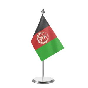 """Single Afghanistan Table Flag with Stainless Steel Base and Pole with 15"""" pole"""