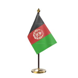 Afghanistan Table Flag With Golden Base And Plastic pole