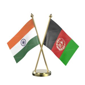 Afghanistan Table Flag With Brass Base And Brass Pole