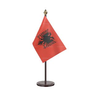 Albania Table Flag With Black Acrylic Base And Gold Top
