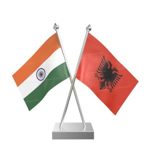 Albania Table Flag With Stainless Steel Square Base And Pole