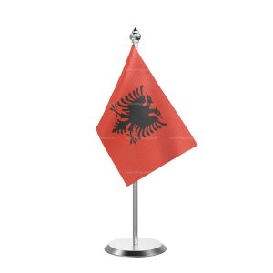 Albania  Table Flag With Stainless Steel Base And Pole