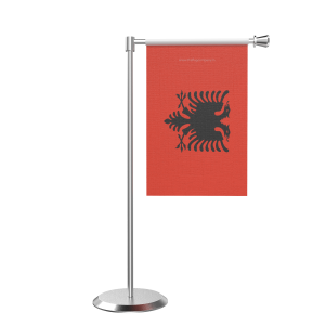 L Shape Table Albania Table Flag With Stainless Steel Base And Pole
