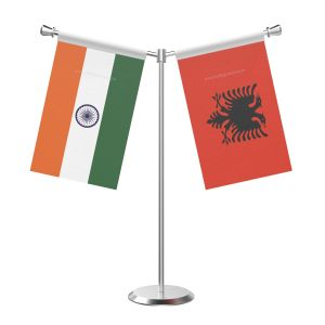 Y Shaped Albania Table Flag With Stainless Steel Base And Pole