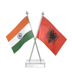 Albania Table Flag With Stainless Steel Pole And Transparent Acrylic Base Silver Top