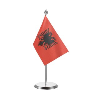 """Single Albania Table Flag with Stainless Steel Base and Pole with 15"""" pole"""
