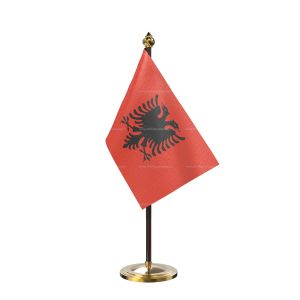 Albania Table Flag With Golden Base And Plastic pole