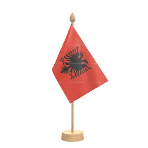 """Albania Table Flag With Wooden Base and 15"""" Wooden Pole"""
