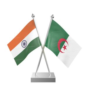 Algeria Table Flag With Stainless Steel Square Base And Pole