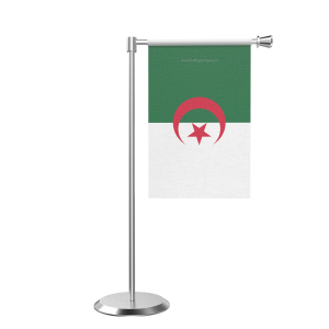 L Shape Table Algeria Table Flag With Stainless Steel Base And Pole