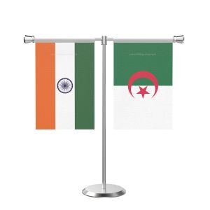 Algeria T Shaped Table Flag With Stainless Steel Base And Pole