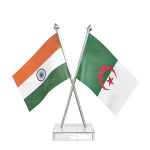 Algeria Table Flag With Stainless Steel Pole And Transparent Acrylic Base Silver Top