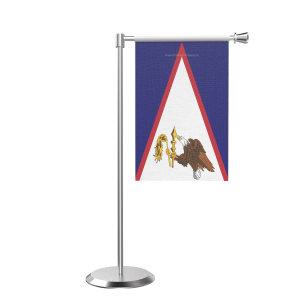 L Shape Table American Samoa  Table Flag With Stainless Steel Base And Pole