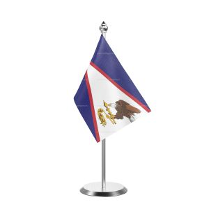 American Samoa Table Flag With Stainless Steel Base And Pole