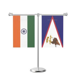 American Samoa T Shaped Table Flag With Stainless Steel Base And Pole