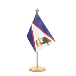 American samoa Table Flag With wooden Base And wooden pole