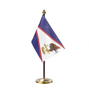 American samoa Table Flag With Golden Base And Plastic pole