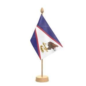 """American samoa Table Flag With Wooden Base and 15"""" Wooden Pole"""
