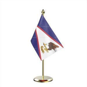 Single American Samoa Table Flag With Brass Base And Brass Pole
