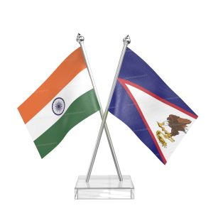 American Samoa Table Flag With Stainless Steel Pole And Transparent Acrylic Base Silver Top