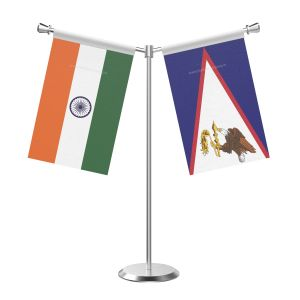 Y Shaped American Samoa Table Flag With Stainless Steel Base And Pole