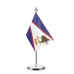 """Single American Samoa Table Flag with Stainless Steel Base and Pole with 15"""" pole"""
