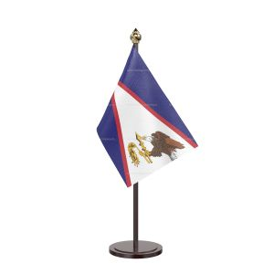 American Samoa Table Flag With Black Acrylic Base And Gold Top