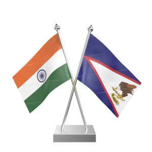 American Samoa Table Flag With Stainless Steel Square Base And Pole