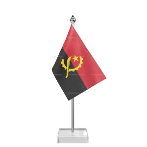 Angola Table Flag With Stainless Steel Pole And Transparent Acrylic Base Silver Top