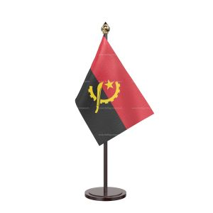 Angola Table Flag With Black Acrylic Base And Gold Top