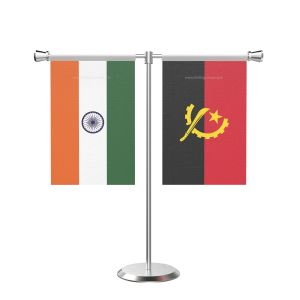 Angola T Shaped Table Flag With Stainless Steel Base And Pole