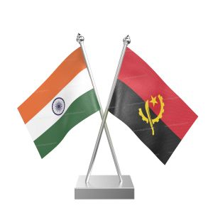 Angola Table Flag With Stainless Steel Square Base And Pole