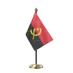 Angola Table Flag With Golden Base And Plastic pole