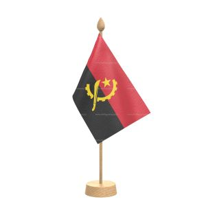 """Angola Table Flag With Wooden Base and 15"""" Wooden Pole"""
