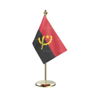Single Angola Table Flag With Brass Base And Brass Pole