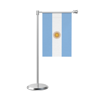 L Shape Table Argentina Table Flag With Stainless Steel Base And Pole