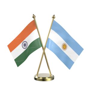 Argentina Table Flag With Brass Base And Brass Pole