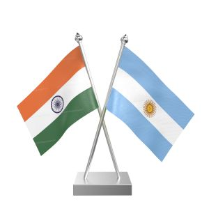 Argentina Table Flag With Stainless Steel Square Base And Pole