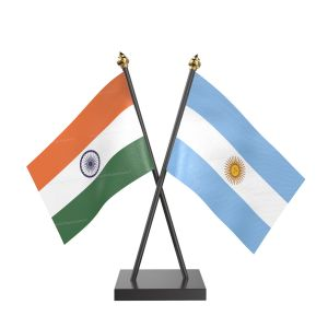 Argentina Table Flag With Black Acrylic Base And Gold Top