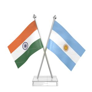 Argentina Table Flag With Stainless Steel pole and transparent acrylic base silver top