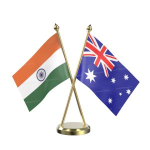 Australia Table Flag With Brass Base And Brass Pole
